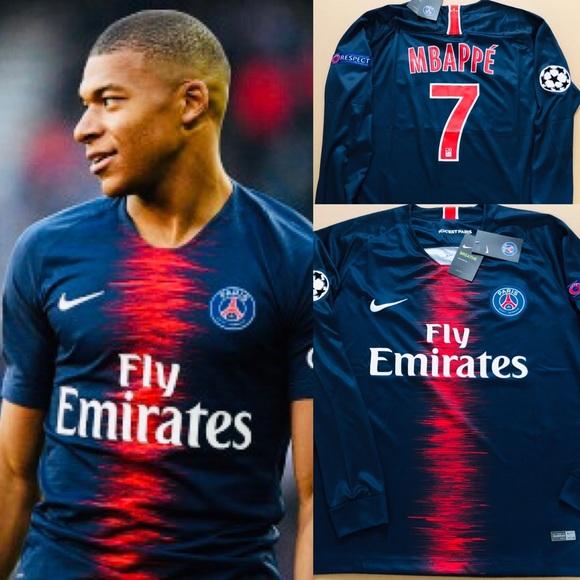 newest collection 2d001 491d4 Paris PSG Mbappe #7 Soccer Jersey Long Sleeve UEFA NWT